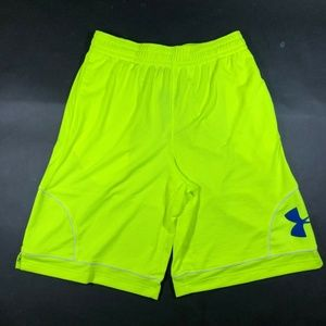 Under Armour Neon Green Logo Loose Athletic Shorts